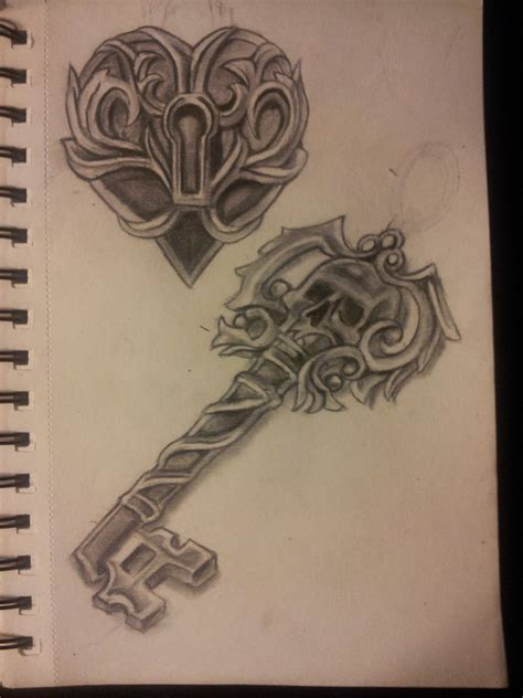 locked heart tattoo designs locked and skeleton key by organicmoon on deviantart