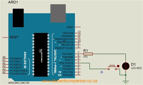 pull resistor button using a push button with arduino student companion sa