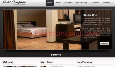 black hotel html website template freethemes4all