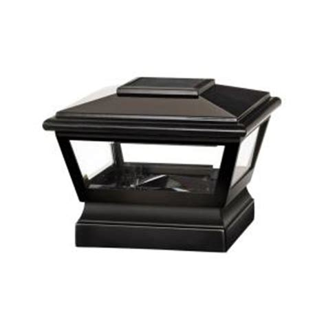veranda 5 in x 5 in black vinyl solar light post cap