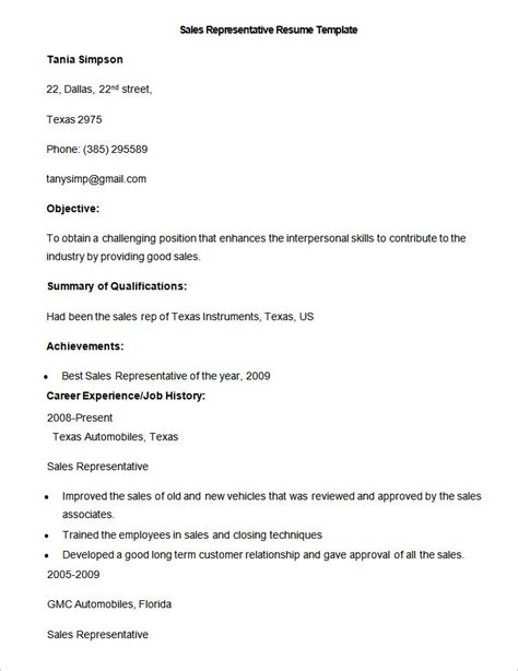 Sales Rep Resume Template by Sales Resume Template 41 Free Sles Exles Format