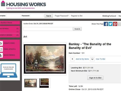 housing works window auctions the thrift shop painting that renowned street artist banksy bought and vandalised