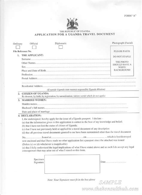 Passport Forms Post Office by Uganda Passport Application Forms Form A B