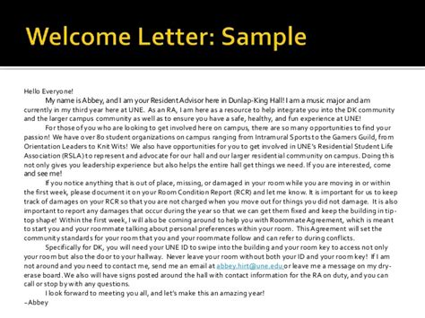 Welcome Letter To New Residents