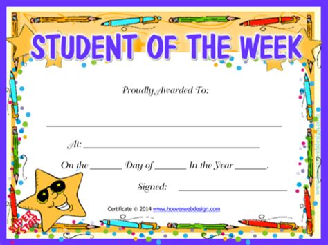student of the week template sle printable certificate templates for free