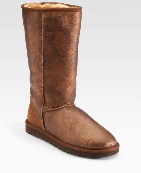 ugg classic marbel leather boots in brown copper lyst