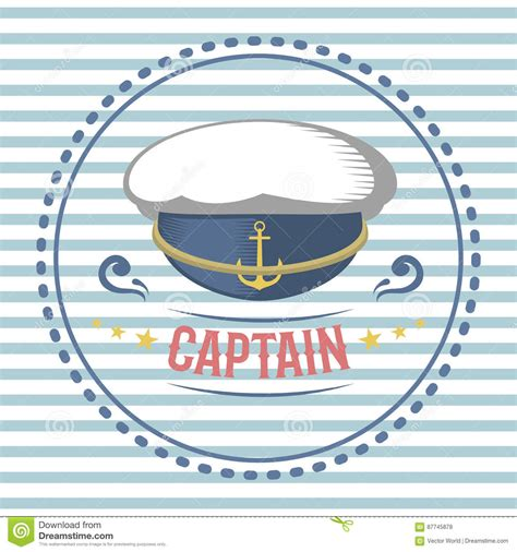 Captain Hat Nautical And Marine Sailing Themed Label Vector Stock Vector Image 87745878 Captain Label Template
