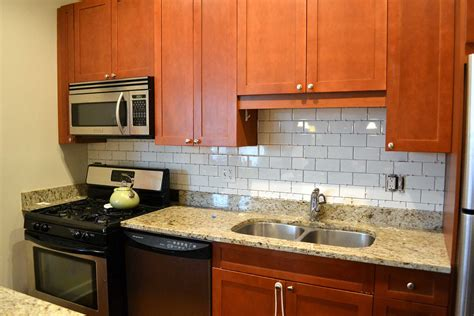 modern white subway tile kitchen backsplash new basement