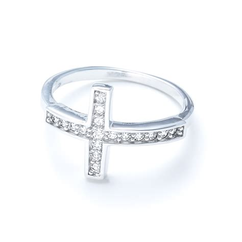 sterling silver sideways cross with cz ring landing company