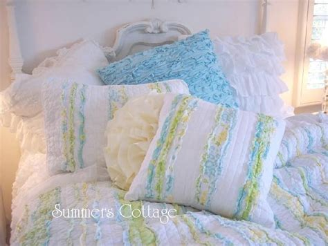Cottage Chic Bedding by Shabby Cottage Chic Blue Yellow Rag Ruffle Pillow