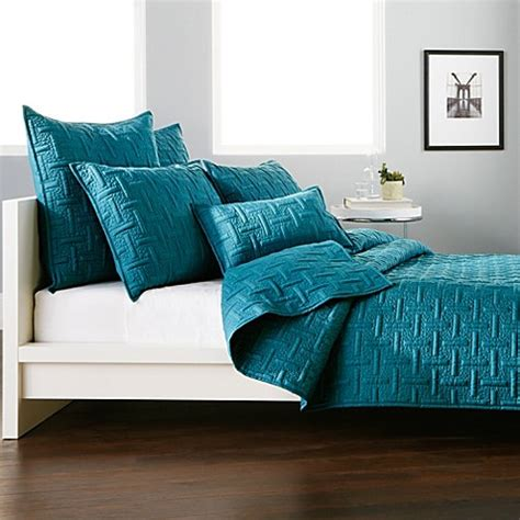dkny coverlets quilts dkny crosstown quilt in teal bedbathandbeyond com