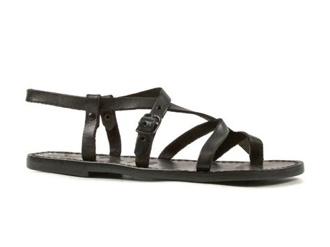 black flat strappy shoes womens flat strappy sandals handmade in real leather