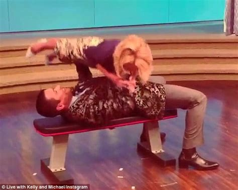 interracial breeding bench mark consuelos bench presses wife kelly ripa for michelle