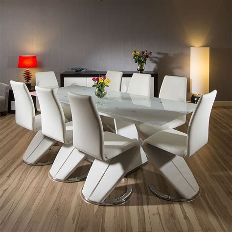 Glass Top Dining Table Seats 8 Modern White Dining Set Glass Top Extending Table 8 Chairs 2200mm