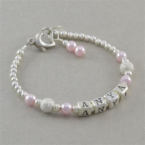baby gift baby name bracelet sterling by