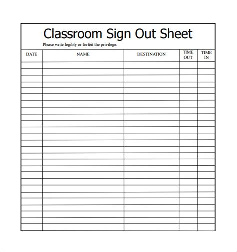 sle school sign in sheet sle school sign out sheet