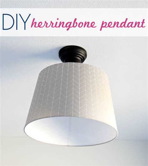 Diy Drum Pendant Light Iheart Organizing S Bedroom Update Diy Herringbone Pendant