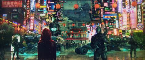 wallpaper sci fi cityscape soldiers asian culture