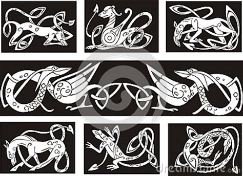 celtic knot patterns wuth animals royalty free stock photo