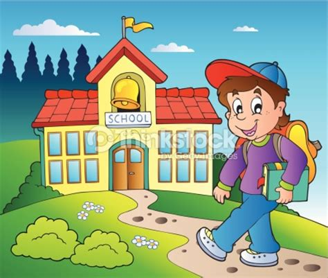 cassius community a scuola a casa 1 theme with boy and school building vector thinkstock