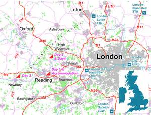 All the competition areas are located to the west of london