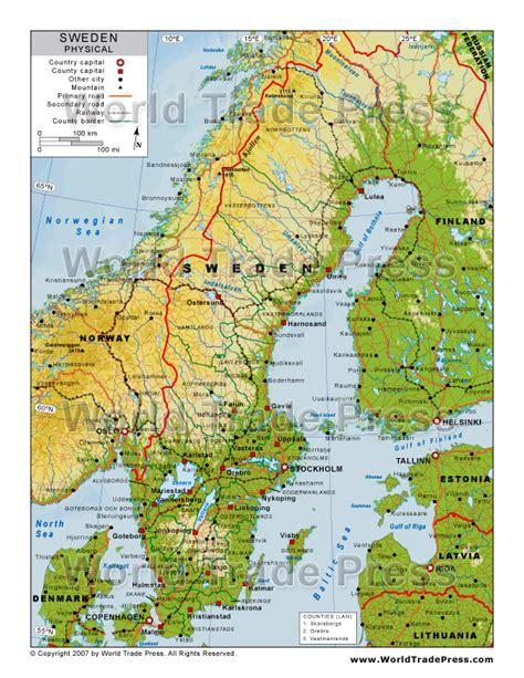 physical map of sweden physical map of sweden images