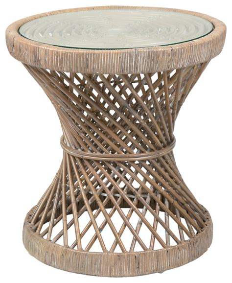 tropical accent tables east at main s shively brown round rattan accent table