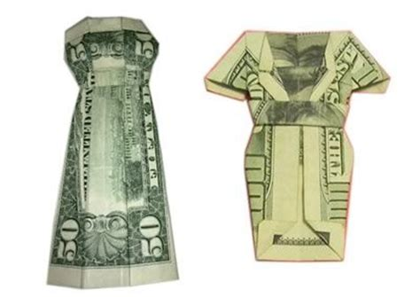 Origami Dollar Bill Dress - free step by step for how to fold a money