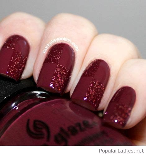 burgundy nail color burgundy nail with glitter