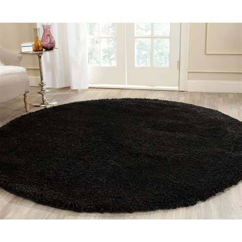 black accent rugs safavieh california shag black 4 ft x 4 ft round area