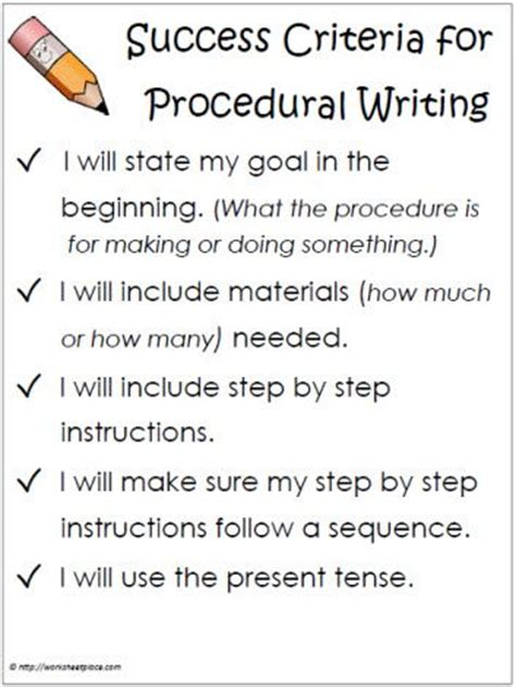 procedural writing template success criteria procedural writing teaching ideas