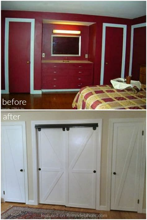 faux barn door remodelaholic how to make bypass closet doors into