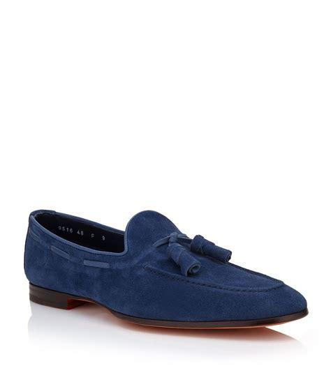mens blue tassel loafers santoni carlos tassel loafer in blue for lyst