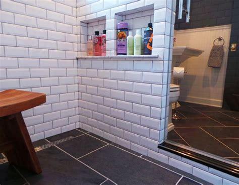 Pony wall / Shower Storage / Bathroom design {Apple a Day