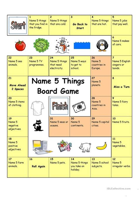 english game themes board game name 5 things worksheet free esl printable