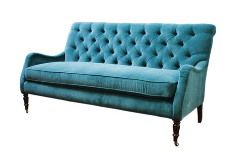 Tufted Leather Settee Peacock Blue The Decorologist
