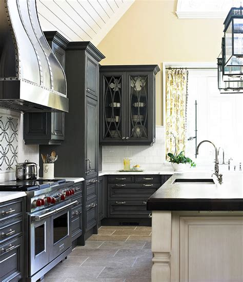 Grey Kitchen Cabinets With Black Appliances Gray Kitchen Cabinets Transitional Kitchen Traditional Home