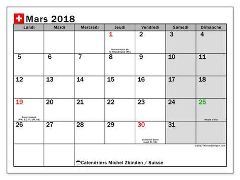 Calendrier 2018 Suisse Calendrier Mars 2018 Suisse