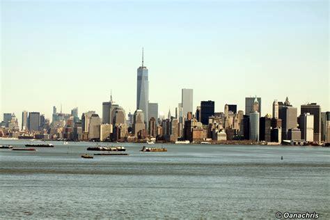 manhattan skyline entering the port of new york usa travelling on