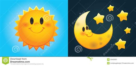imagenes de sol y luna animadas sol y luna de la historieta ilustraci 243 n del vector