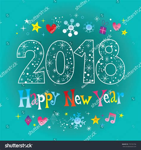 happy new year 2018 greeting card stock vector happy new year 2018 greeting card stock vector 775735756