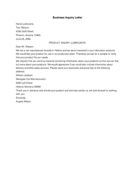 Business Letter Sle Of Inquiry Business Inquiry Letter Hashdoc
