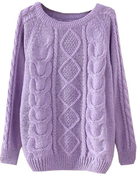 purple knit sweater purple sleeve patterned knit sweater