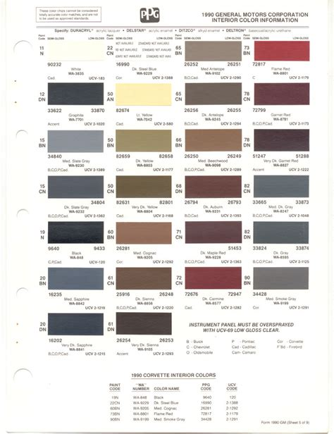gm interior paint codes