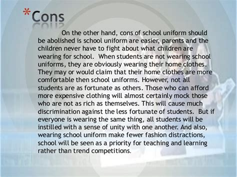 Disadvantages Of Wearing School Essay by School Uniforms Should Be Abolished