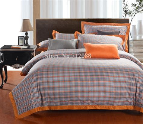 blue and orange bedding free shipping 100 cotton 4pcs full queen king bi color