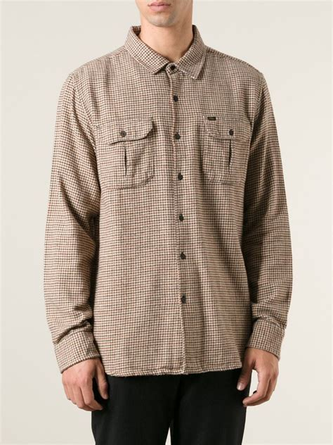 Houndstooth Shirt obey houndstooth shirt in brown for lyst