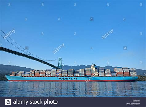 boat shipping vancouver maersk line container ship or cargo ship leaving burrard