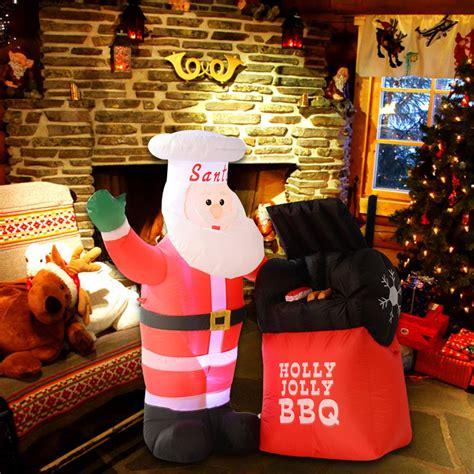 back yard barbque christmas 5 ft airblown chef santa claus barbecue bbq decor lawn yard ebay