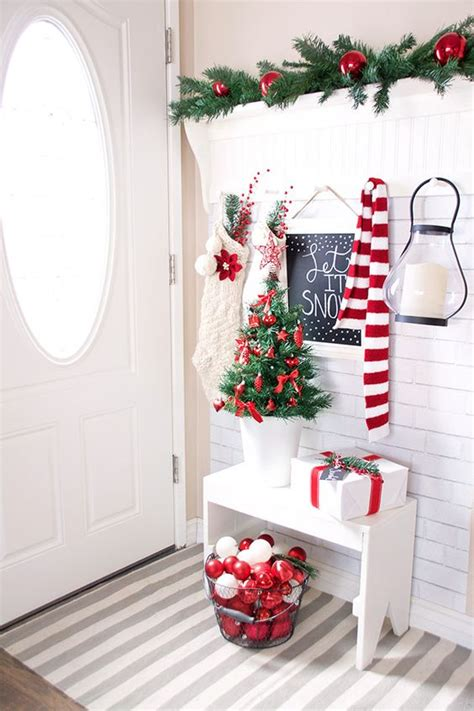 Red Entryway Bench by Festive Farmhouse Christmas Decorations